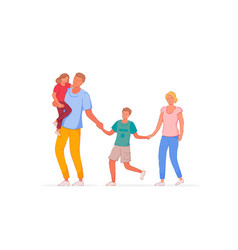 walking family outside isolated on white backdrop vector image