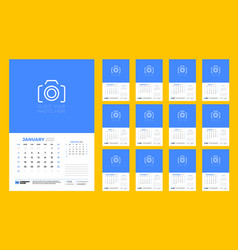 Wall calendar template for 2021 year 12 pages vector