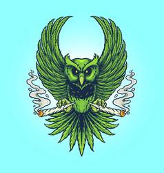 weed owl smoking cannabis vector image