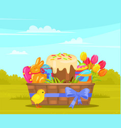 wicker basket with easter painted eggs and cake vector image