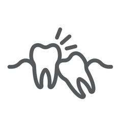Wisdom teeth line icon stomatology vector