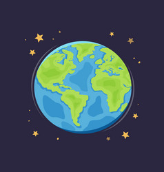 world planet earth in space globe cartoon vector image