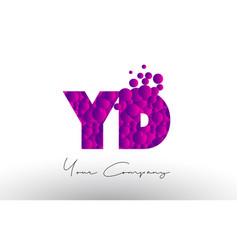 Yd y d dots letter logo with purple bubbles vector