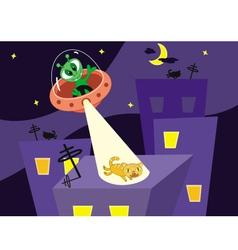 Alien and cat vector image vector image