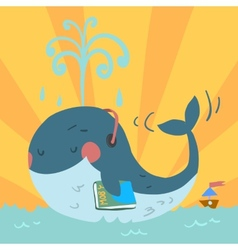 cartoon cute blue whale vector image vector image