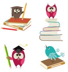 cute bird learning vector image