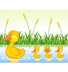 family duck cartoon vector image vector image