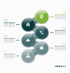 6 option infographic design with ellipses vector image