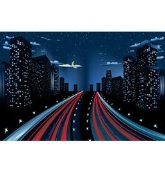 Night City Road Panorama vector image vector image