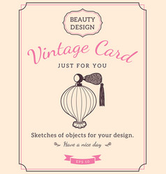 sketch perfume bottle and text vector image vector image
