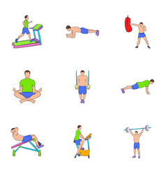workout icons set cartoon style vector image