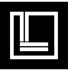 Capital letter l from white stripe enclosed in a vector