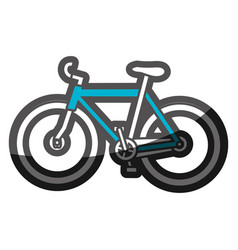 color silhouette with blue sport bicycle vector image vector image