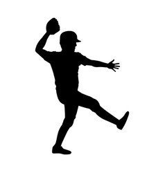 monochrome silhouette with baseball pitcher vector image vector image