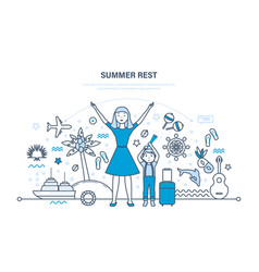 mother with son rest in summer in warm countries vector image