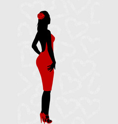 red dress woman silhouette vector image