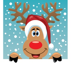 rudolph deer holding blank paper vector image vector image