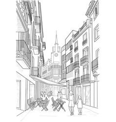 sketch of the street of sitges vector image vector image