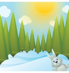 Snowy Forest Glade vector image