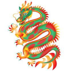 chinese red and green dragon with a pearl vector image vector image