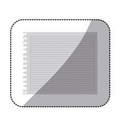color silhouette of striped notebook sheet in vector image