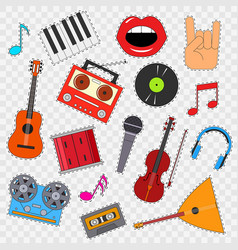 musical instruments and equipment sticker set on a vector image vector image