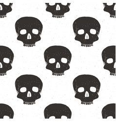 skull seamless pattern hand drawn sketch vector image