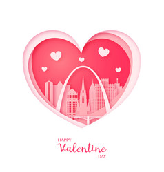 Valentines card paper cut heart and st louis vector