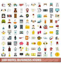 100 hotel business icons set flat style vector image