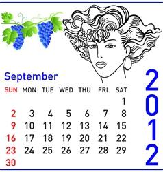2012 year calendar in september vector image