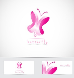 3d pink butterfly logo vector image
