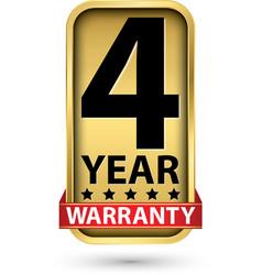 4 year warranty golden label vector image