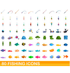80 fishing icons set cartoon style vector image