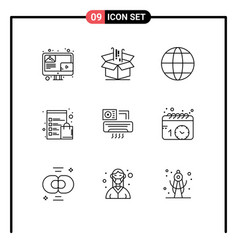 9 user interface outline pack modern signs vector