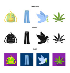 A cannabis leaf a dove jeans a backpackhippy vector