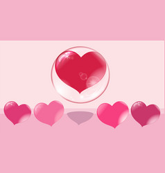 a loving heart flies up in a bubble other hearts vector image