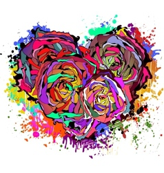 Abstract colorful heart of roses vector