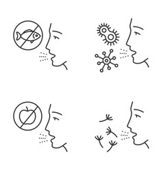 Allergies linear icons set vector