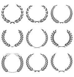 Award wreaths laurel on black background vector