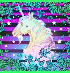 Beautiful unicorn over the colorful vibrant vector