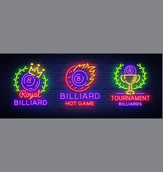 billiards collection of logos neon style neon vector image