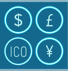 bitcoin and chinese yen dollar icons set vector image