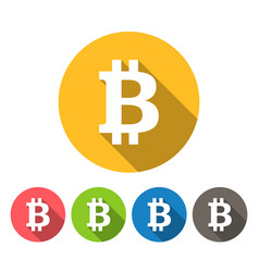 bitcoin round icons flat design vector image