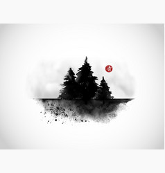 Black ink wash painting with three pine trees on vector
