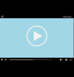 Blue flat video player bar template for your desig vector