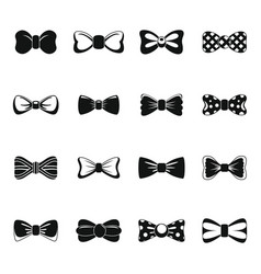 Bowtie ribbon man tuxedo icons set simple style vector