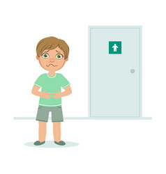 Boy with full bladder wanting to pee kid standing vector