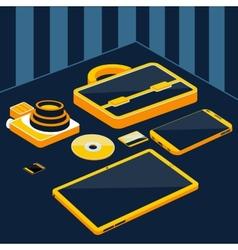 Briefcase camera smartphone tablet sd memory card vector image