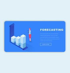 business forecasting isometric landing page vector image