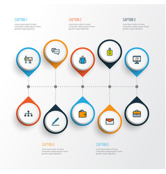 business icons colored line set with introducing vector image